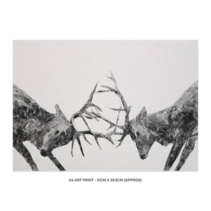 """The Showdown"" Rutting Stags (B&W) A4 Unframed Art Print - Andy Thomas Artworks"