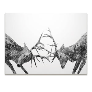 """The Showdown"" Rutting Stags (B&W) Skinny Canvas Print"