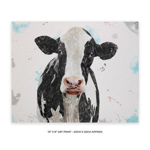"""Harriet"" The Holstein Cow 10"" x 8"" Unframed Art Print - Andy Thomas Artworks"