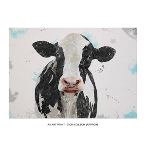 """Harriet"" The Holstein Cow A4 Unframed Art Print - Andy Thomas Artworks"