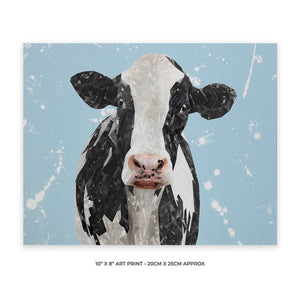 """Harriet"" The Holstein Cow (Blue Background) 10"" x 8"" Unframed Art Print - Andy Thomas Artworks"