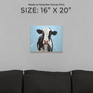 """Harriet"" The Holstein Cow (Blue Background) Small Canvas Print - Andy Thomas Artworks"