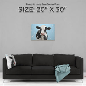 """Harriet"" The Holstein Cow (Blue Background) Medium Canvas Print - Andy Thomas Artworks"