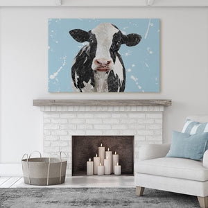 """Harriet"" The Holstein Cow (Blue Background) Massive Canvas Print - Andy Thomas Artworks"