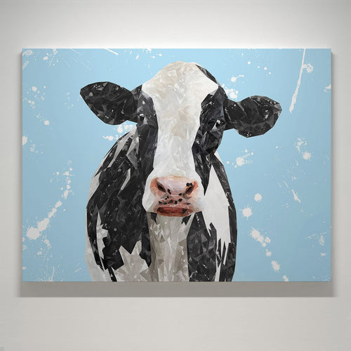 """Harriet"" The Holstein Cow (Blue Background) Small Canvas Print"