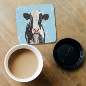 """Harriet"" The Holstein Cow (Blue Background) Coaster - Andy Thomas Artworks"