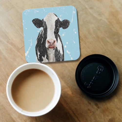 """Harriet"" The Holstein Cow (Blue Background) Coaster"