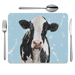 """Harriet"" The Holstein Cow (Blue Background) Placemat - Andy Thomas Artworks"
