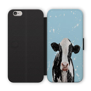 """Harriet"" The Holstein Cow (Blue Background) Flip Phone Case - Andy Thomas Artworks"