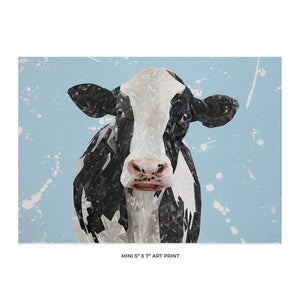 """Harriet"" The Holstein Cow (Blue Background) 5x7 Mini Print - Andy Thomas Artworks"