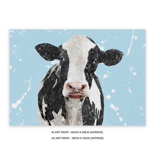 """Harriet"" The Holstein Cow (Blue Background) A2 Unframed Art Print"