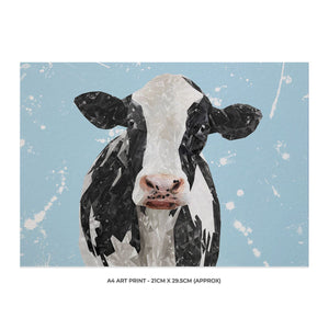 """Harriet"" The Holstein Cow (Blue Background) A4 Unframed Art Print - Andy Thomas Artworks"