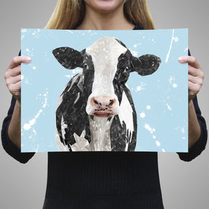 """Harriet"" The Holstein Cow (Blue Background) A1 Unframed Art Print - Andy Thomas Artworks"