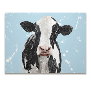 """Harriet"" The Holstein Cow (Blue Background) Skinny Canvas Print - Andy Thomas Artworks"