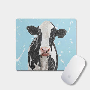 """Harriet"" The Holstein Cow (Blue Background) Mousemat - Andy Thomas Artworks"