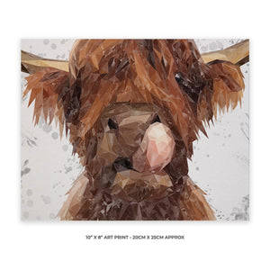 """Harry"" The Highland Bull (Grey Background) 10"" x 8"" Unframed Art Print - Andy Thomas Artworks"