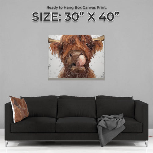 """Harry"" The Highland Bull (Grey Background) Large Canvas Print"