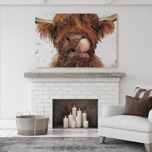 """Harry"" The Highland Bull (Grey Background) Massive Canvas Print - Andy Thomas Artworks"