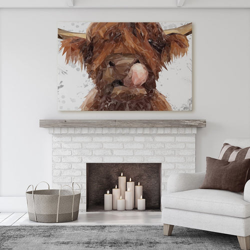 """Harry"" The Highland Bull (Grey Background) Massive Canvas Print"