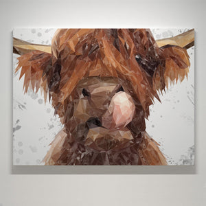 """Harry"" The Highland Bull (Grey Background) Small Canvas Print - Andy Thomas Artworks"