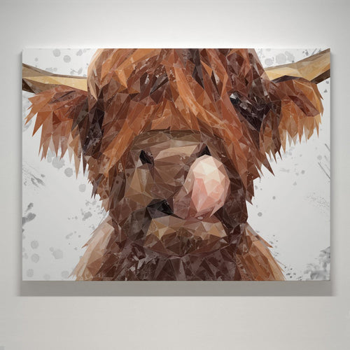 """Harry"" The Highland Bull (Grey Background) Small Canvas Print"