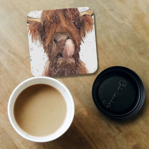 """Harry"" The Highland Bull (Grey Background) Coaster - Andy Thomas Artworks"