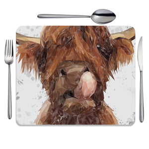 """Harry"" The Highland Bull (Grey Background) Placemat - Andy Thomas Artworks"