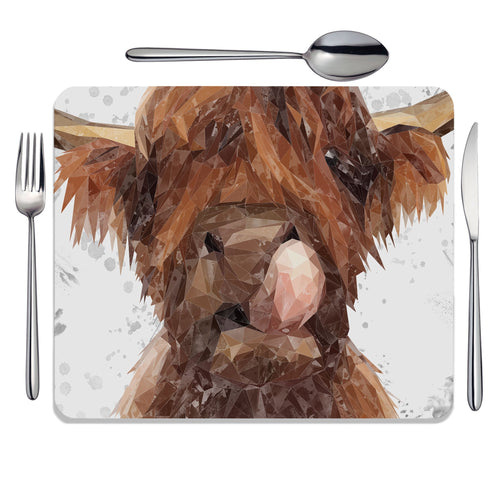 """Harry"" The Highland Bull (Grey Background) Placemat"