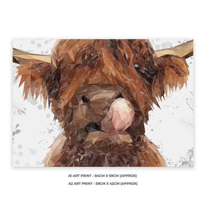 """Harry"" The Highland Bull (Grey Background) A1 Unframed Art Print - Andy Thomas Artworks"