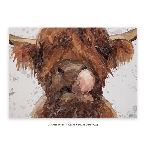 """Harry"" The Highland Bull (Grey Background) A3 Unframed Art Print"