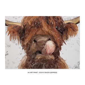 """Harry"" The Highland Bull (Grey Background) A4 Unframed Art Print - Andy Thomas Artworks"