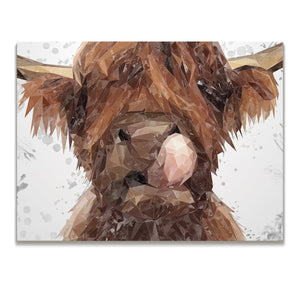 """Harry"" The Highland Bull (Grey Background) Skinny Canvas Print - Andy Thomas Artworks"