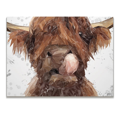 """Harry"" The Highland Bull (Grey Background) Skinny Canvas Print"