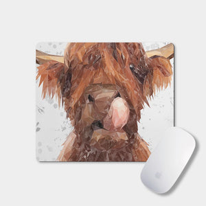 """Harry"" The Highland Bull (Grey Background) Mousemat - Andy Thomas Artworks"