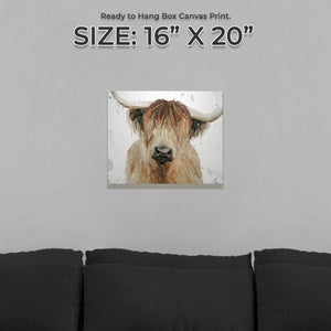 """Bernadette"" The Highland Cow (Grey Background) Small Canvas Print - Andy Thomas Artworks"