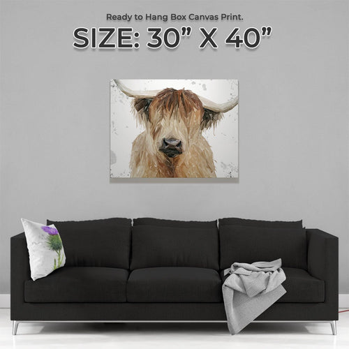 """Bernadette"" The Highland Cow (Grey Background) Large Canvas Print"