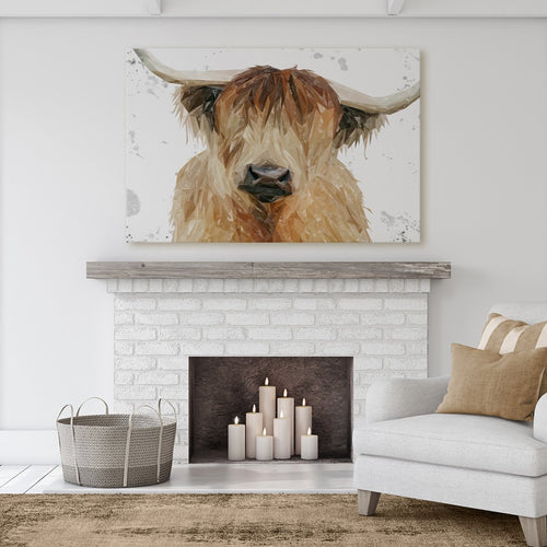 """Bernadette"" The Highland Cow (Grey Background) Massive Canvas Print"