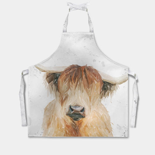 """Bernadette"" The Highland Cow (Grey Background) Apron"