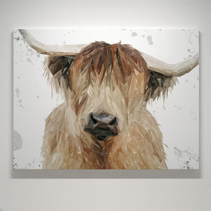 """Bernadette"" The Highland Cow (Grey Background) Medium Canvas Print - Andy Thomas Artworks"