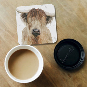 """Bernadette"" The Highland Cow (Grey Background) Coaster - Andy Thomas Artworks"