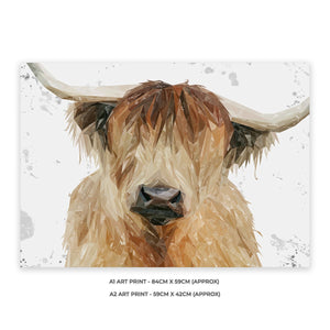 """Bernadette"" The Highland Cow (Grey Background) A2 Unframed Art Print - Andy Thomas Artworks"