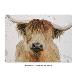 """Bernadette"" The Highland Cow (Grey Background) A4 Unframed Art Print - Andy Thomas Artworks"