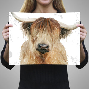 """Bernadette"" The Highland Cow (Grey Background) A3 Unframed Art Print - Andy Thomas Artworks"