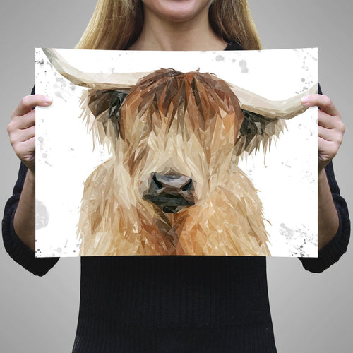 """Bernadette"" The Highland Cow (Grey Background) A3 Unframed Art Print"