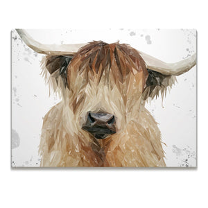"""Bernadette"" The Highland Cow (Grey Background) Skinny Canvas Print - Andy Thomas Artworks"