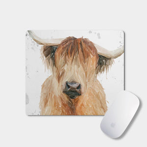 """Bernadette"" The Highland Cow (Grey Background) Mousemat - Andy Thomas Artworks"