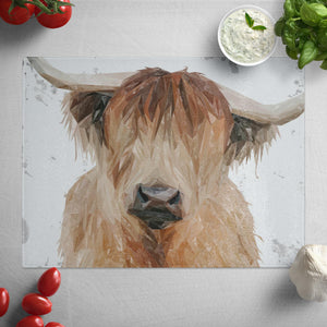 """Bernadette"" The Highland Cow (Grey Background) Glass Worktop Saver"
