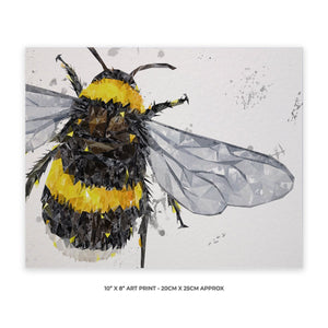 """The Bee"" (Grey Background) 10"" x 8"" Unframed Art Print - Andy Thomas Artworks"