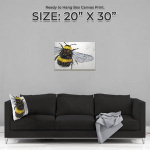 """The Bee"" (Grey Background) Medium Canvas Print - Andy Thomas Artworks"