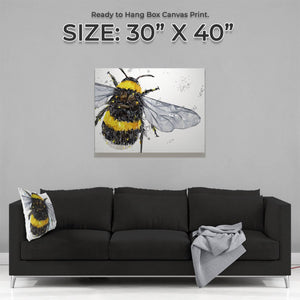 """The Bee"" (Grey Background) Large Canvas Print - Andy Thomas Artworks"